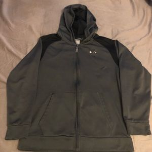 Champion Zippered Hooded Sweatshirt. YL (12/14)